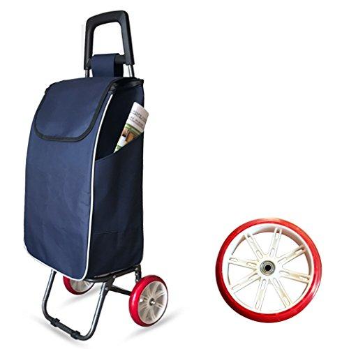 Carretilla plegable de la carretilla de las compras de la carretilla de las compras de la carretilla de la capacidad grande ligera con 2 ruedas (Color : Blue)