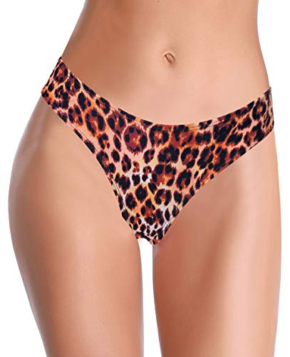 SHEKINI Dames Mid Rise bikinibroek U-vormige Braziliaanse bikini, slip buikweg bikini, luipaardzwembroek, grote maten strandbroek voor vrouwen