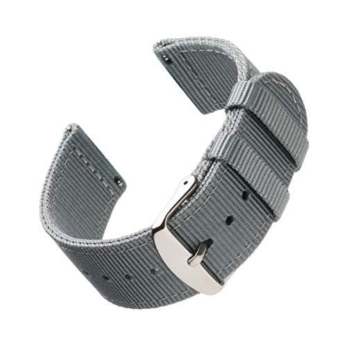 Archer Watch Straps - Premium-Uhrenarmbänder aus Nylon mit Schnellverschluss (Grau, 18mm)