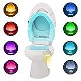 WC-Nachtlicht, SUNNEST Bewegungsaktiviertes LED-Licht, WC-Schüssel-Licht mit Dual-LED-Nachtlampe und 8 Farbwechsel, wasserdicht, passend für jedes WC (warmweiß, rund)