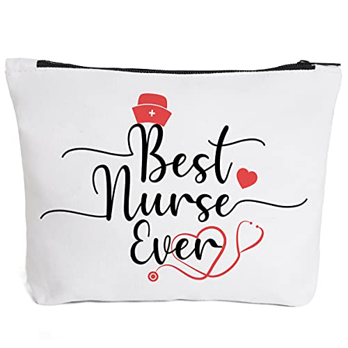 Ihopes Best Nurse Ever Cotton Makeup Zipper Pouch Bag | Nurse Practitioner Cosmetic Accessories Bag Make-Up Toiletry Case Nursing Supplies Multifunction Pouch Gifts for Student Women Friend Sister
