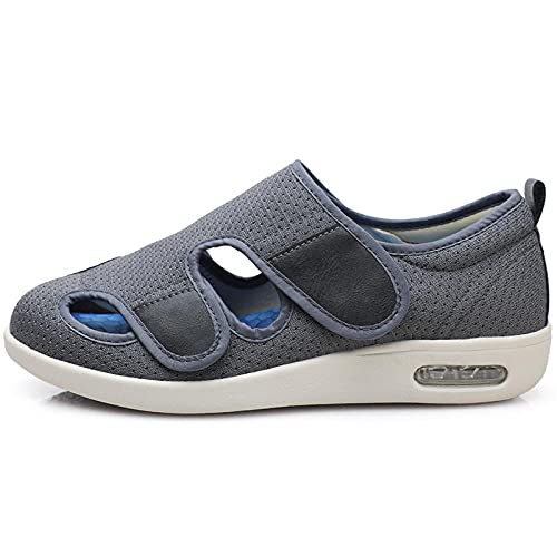 CCSSWW Velcro Zapatillas OrtopéDica para,Sandalias de Verano Zapatos de pies más Fertilizantes de Ancho-Gris_48,Zapatos para DiabéTicos para Edema