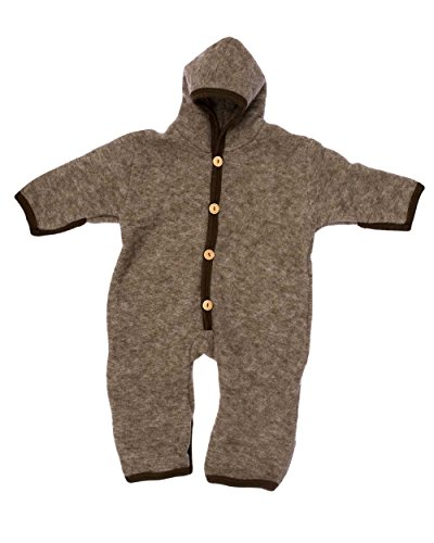 Cosilana, NEU Baby Fleece Overall mit Umschlag, 60% Schurwolle (kbT), 40% Baumwolle (KBA) (50/56, Braun-Melange)
