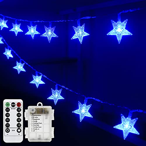 Anfunman Star Fairy String Lights Battery Operated, 50LED 17.5 FT Christmas Star Lights Waterproof with Remote for Bedroom Birthday Party Kids Tent Christmas Hanukkah Decorations (Blue).