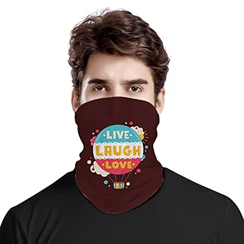 FULIYA Gran cara cubierta bufanda protección cuello, colorido hipster globo de aire caliente con frase Live Laugh Love Cheerful Fun estilo retro, bufanda de cabeza variada unisex