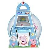 PEPPA PIG |Vajilla infantil bicolor- Set de 3 piezas: Plato, cuenco y vaso para niños - Vajilla Bebé Antideslizante con base de silicona - Libre de BPA