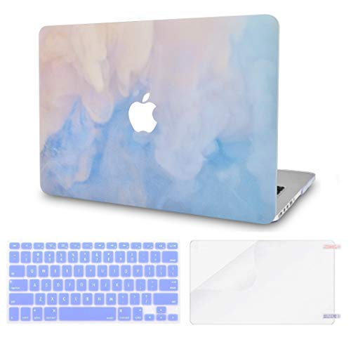 """LuvCase 3 in 1 Laptop Case Compatible withMacBookPro 13"""" (2016-2020) +/- Touch Bar A2159/A1989/A1706/A1708 HardShell Cover, Keyboard Cover & Screen Protector(Blue Mist)"""