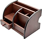 MB SELLERS Polished Wooden Pen Stand with Drawer, Stationery Stand, Mobile Holder & Remote Stand for Office Desk Big Size