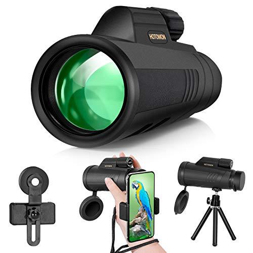Telescopio monocular para smartphone, 16 x 55, alta definición, potencia, HD, con soporte teléfono, trípode BAK4, prisma observación de aves, caza, barco, senderismo, niños y adultos