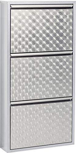 KARE Design Zapatero a 3 Solapas Carusa, Plata, 103 x 50 x 14 cm