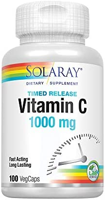 Solaray Vitamin C w/Rose Hips & Acerola | 1000mg | Two-Stage Timed-Release Healthy Immune Function (100 VegCaps)