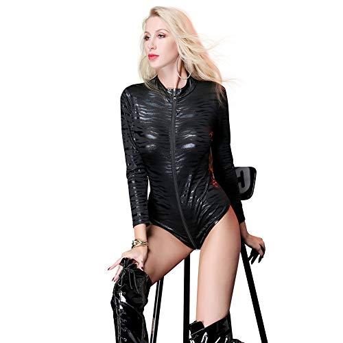 Sexy Lingerie Babydoll Patent Lederen Luipaard Teddy Rits Crotch Lange mouwen Nachtkleding Bodysuit Zwart Kleur