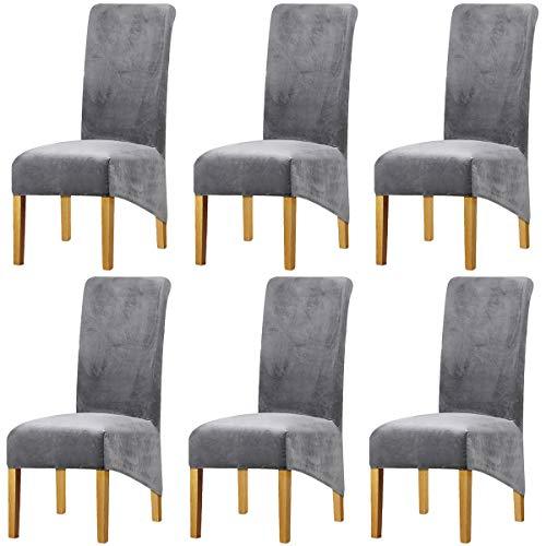 LANSHENG Stretchy XL Stuhlbezüge für Esszimmerstühle, Stretch Spandex mit Gummiband Stuhlbezug,Velvet Large Dining Chair Schonbezüge für Restaurant Hotel Party Bankett (Hellgrau,6er Set (Groß))