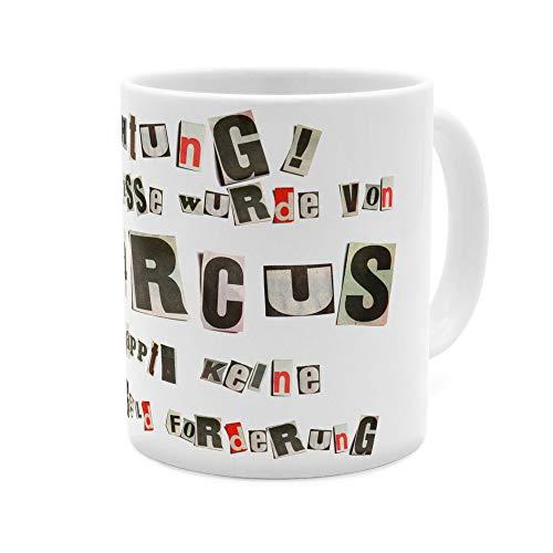 printplanet Tasse mit Namen Marcus - Motiv Ausgeschnittene Buchstaben - Namenstasse, Kaffeebecher, Mug, Becher, Kaffeetasse - Farbe Weiß