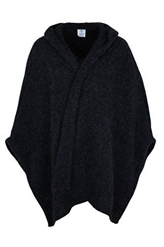 KIDKA 050 Damen Strick-Umhang - Strickponcho - Islandwolle - schwarz Größe one Size