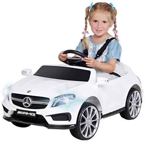 Actionbikes Motors Kinder Elektroauto Mercedes Benz Amg GLA45 - Lizenziert - Rc 2,4 Ghz Fernbedienung - Softstart - SD-Karte - USB - MP3 - Elektro Auto für Kinder ab 3 Jahre (GLA45 Weiß)