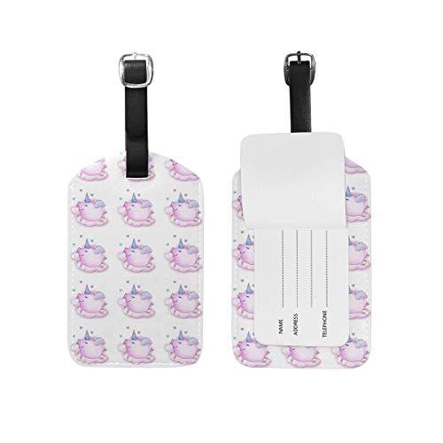 shenguang 2PCS Leather Cute Pig Polka Dots Luggage Tags Travel Baggage Labels Bag Tag