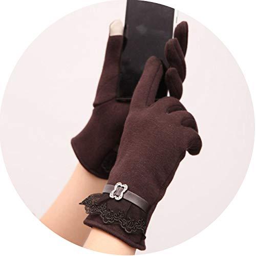 Small-shop-gloves 1 Paire de moufles en Dentelle pour Femme avec Fermeture éclair en polyuréthane pour écran Tactile, Femme, Marron foncé, Free Size