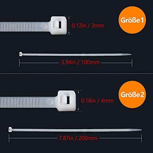 Kabelbinder Set Weiss, Profi Kabelbinder set Weiß 100 mm / 200 mm, Cable Ties für PC, Fahrrad, Industrie (400 400 Stück)