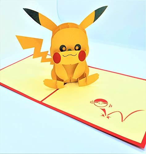 BC Worldwide Ltd handgemachte 3D-Popup-Karte Pikachu Pokémon Maskottchen Geburtstag, Kinder Kind Party Einladung, Babyparty, Baby Geburt, Hochzeitstag, Valentinstag
