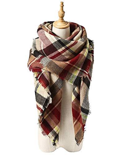 Spring Fever Large Tartan Fashion Women Scarf Lovely Best Gift Scarf Wrap Shawl C Pink