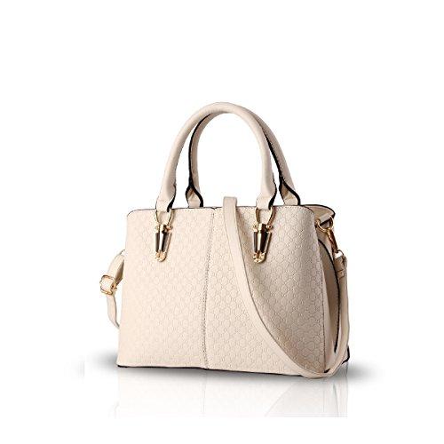NICOLE&DORIS 2019 Mode Frau Handtasche große Tasche Retro-Handtaschen lässig Umhängetasche Kuriertasche für Frauen Cremeweiß