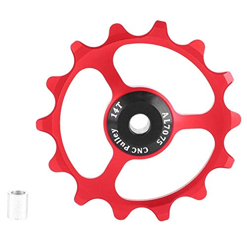 Nichhany Polea de desviador de Bicicleta GUB Ligero 14T Bicicleta de montaña Polea de desviador Trasero de Bicicleta Rueda de guía(Rojo)