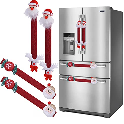 Christmas Fridge Handle Covers Set of 4, Santa Snowman Fridge Door Handle Cover Kitchen Appliance Microwave Oven Dishwasher Door Handle Covers for Christmas Decorations (White)