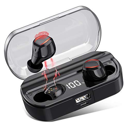VOOE Kopfhörer Kabellos Bluetooth 5.0, In Ear Auto Pairing TWS Mikrofon Ohrhörer Sport Minikopfhörer mit 3500mAh LCD Ladetasche, 120 Stunden Spielzeit, Berührungssteuerung,IPX7-Wasserdicht