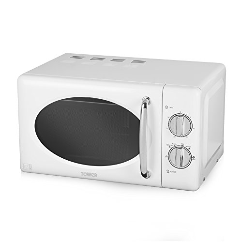 Tower T24017 Manual Solo Microwave with 6 Power Levels, 30 Minute Timer, Defrost Function, Stainless Steel Interior, 800 W, 20 liters, White