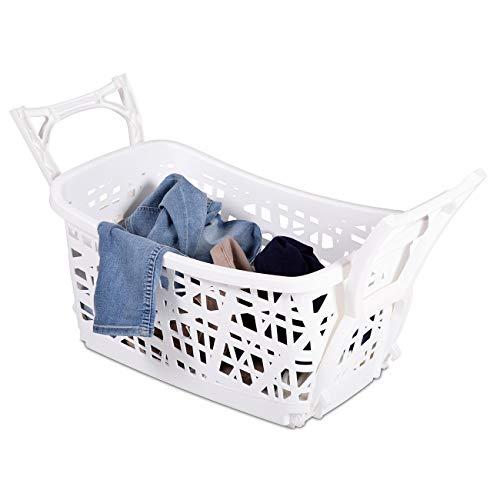maxVitalis Wäschekorb mit ausklappbaren Beinen u. Tragegriffen, Stabiler Wäschekorb mit großem Volumen, Wäschesammler aus Kunststoff für rückenschonendes Aufhängen der Wäsche ohne Bücken, Weiß