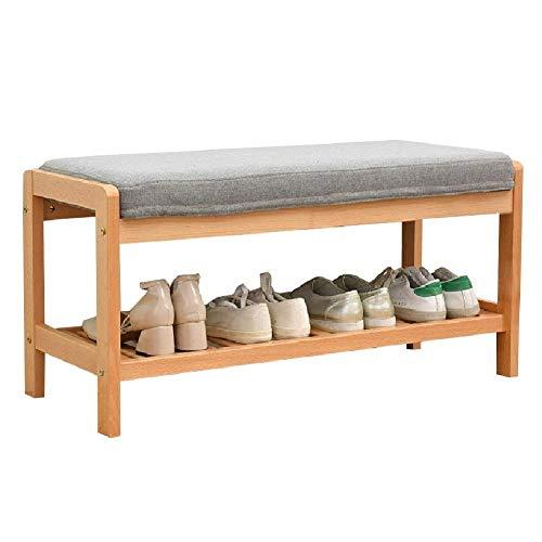 JIADUOBAO Estante de madera de 2 niveles para zapatos con cojín, banco de entrada, funda de asiento extraíble lavable, alfombrilla antideslizante (tamaño: 85 x 33,5 x 40 cm) (color natural)