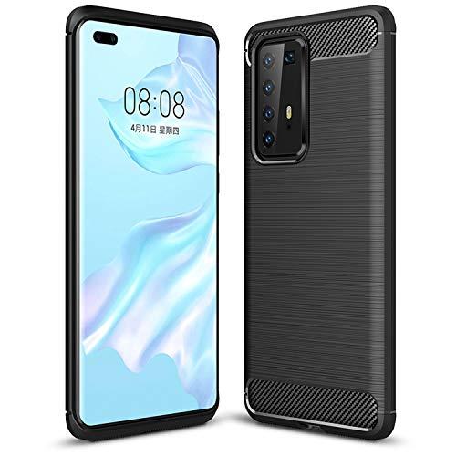Capa TTVie para Huawei P40 Pro, Capa Protetora Fina e Macia em TPU Silicone com Fibra de Carbono para Huawei P40 Pro Smartphone Modelo 2020, Preto