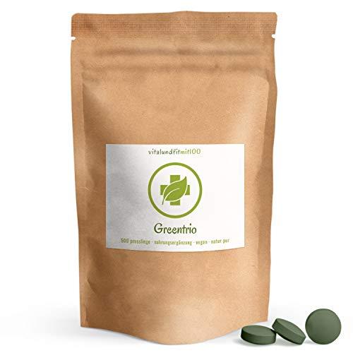 GreenTrio Tabs (aus Spirulina, Chlorella, Gerstengras) - 500 Tabs à 250 mg - 3 Nährstoffbomben - 100{0e3e8f3cae59f27fe7e65c1b961d840c494e57b9f24308396f49c092efcbe2ce} vegan & rein - glutenfrei, laktosefrei - OHNE Hilfs- u. Zusatzstoffe