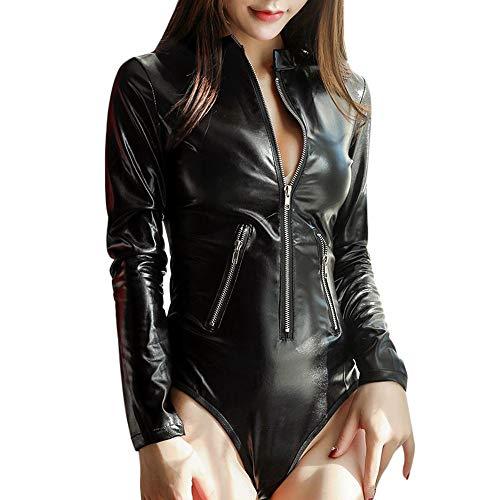 JUSHINI Bodys für Damen Mode Offener Strumpfhose s Overall Lederunterwäsche Reißverschluss Unterwäsche Hollow Pyjamas Reizwäsche Sexy Erotische Dessous