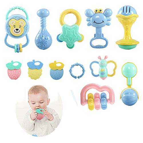 Best Bargain FQMAO Teether Rattles Toys, Baby Rattle Sets Babies Grab Shaker and Spin Rattle Toy Ear...