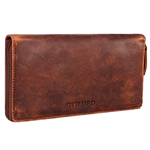 STILORD 'Emilia' Damen Portemonnaie RFID Schutz Elegante Klassische Geldbörse groß aus echtem Rindsleder, Quer mit Reißverschluss Leder, Farbe:Kara - Cognac