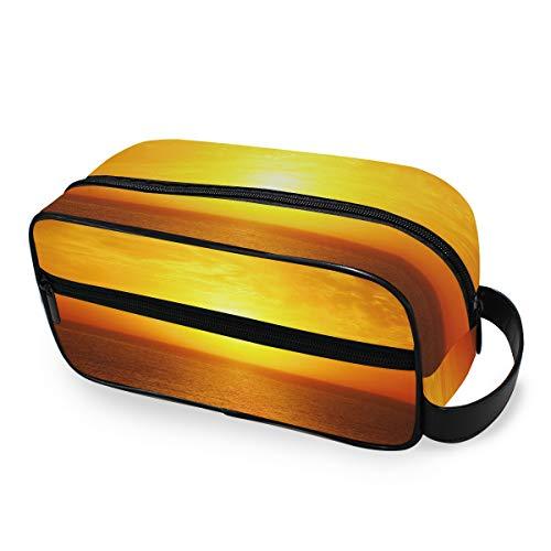 Sea Ocean Sunset Travel Storage Maquillage Sac Trousse De Toilette Filles Outils Cosmétique Train Case Portable