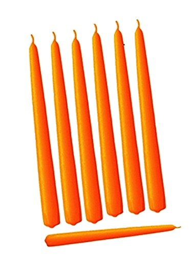 D'light Online Elegant Taper Premium Quality Candles, Hand-Dipped, Dripless and Smokeles - Set of 12 Individually Wrapped (10 Inch, Orange)