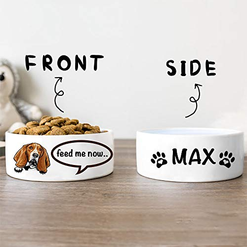 Pet Bowl Personalized Basset Hounds Comic Ceramic Dog Food Bowls Custom Dog Breed and Name for Small & Large Dog Bowl Puppy Pet Dish of Food and Water