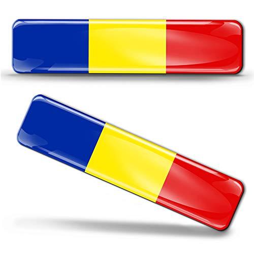 Biomar Labs® 2 x Aufkleber 3D Gel Silikon Stickers Rumänien Romania Flag Rumänische Flagge Fahne Autoaufkleber F 18