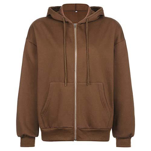 Vertvie Damen Hoodie Vintage Reißverschluss Sweatshirt Samt Loose Winter Jacke Langarm große Tasche Fleece Outwear Mit Kapuze Kurzmantel (Braun,L)