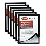 JIUYE 6 Pack Magnetic Sign Holder,8x11.5Inch Durable Self Adhesive Backing Magnetic Instant Display Frames Fit for Window/Door/Cupboard/Tiles at Home or Office (Black)