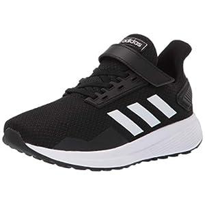 adidas Duramo 9 Running Shoe, Black/White/Black, 2 US Unisex Little Kid