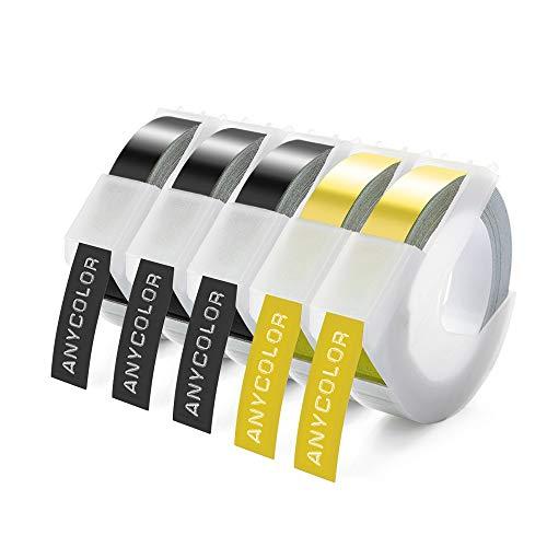 Anycolor kompatible Prägeband als Ersatz für Dymo 3D Kunststoff Prägeband, 9mm Schwarz/Gold Vinyl-Prägeetiketten für Dymo Omega Junior Home-Etikettenhersteller Omega Motex E-101 E-303, 5 Rollen