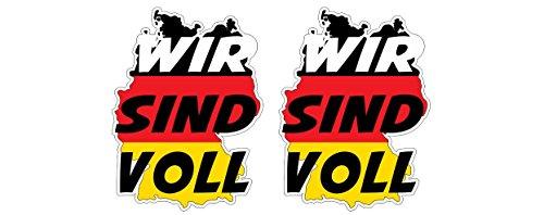 Deutschland Germany ist Voll Flüchtlinge Einwanderung Aufkleber Sticker + Gratis Schlüsselringanhänger aus Kokosnuss-Schale + Auto Motorrad Laptop Tuning Anti-Einwanderung AfD Anti Merkel