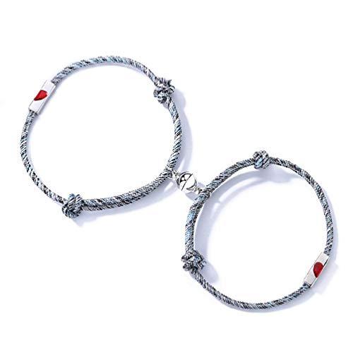 NA/ 2 pulseras de amistad para amantes del día de San Valentín con forma de corazón y rompecabezas, pulsera de distancia magnética para amantes de la joyería del día de San Valentín