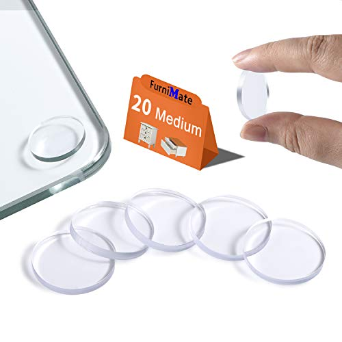 Glass Table Bumpers Anti Slip Pads 20PCS 20mm Non Adhesive Medium Rubber Pads for Glass Table Top Spacer