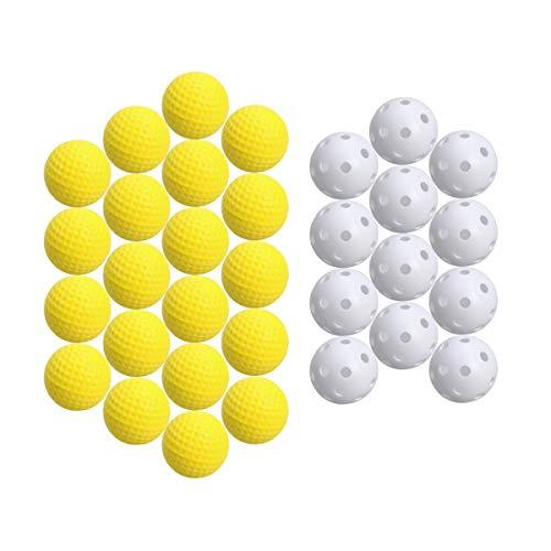 NUOBESTY 20 Stücke Kunststoff Golf Trainingsbälle Luftstrom Hohl Golfbälle Schaum Golfbälle Kinder Ball Spielzeug für Driving Range Schaukel Praxis Heimgebrauch