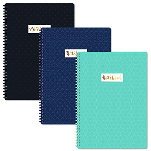 """A4 Notebooks/Journal - 3 Pack Lined A4 Ruled Notebook Journal with Premium Paper, Wirebound, 9"""" × 11.75"""", Soft Ring, Easily Tear Off"""